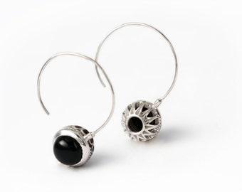 Big hoop earrings, Dangle earrings, Silver hoops with black onyx, Flower earring, Handmade earrings, Onyx Earrings, Silver hoop earrings