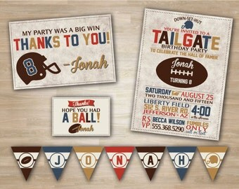 Football Birthday, Shower, Superbowl Party Package, Vintage Football Invitations, Pennant Banner, Thank you Card, Tailgate Birthday, Shower