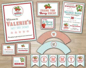 Berry Sweet Strawberry Baby Girl Shower Party Package Deluxe, includes pennant banner, cupcake wrappers, food label tents, and favor tags