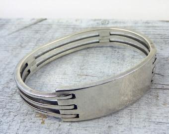 Vintage Sterling Silver Bangle Bracelet-Engraveable Bracelet- Identification Bracelet-Unusual 3 Bar Bracelet- Ready to Engrave