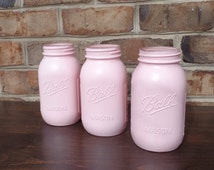 Pink Mason Jars, Set of 3 Pink Quart Jar Centerpieces, Pink Wedding, Pink Centerpieces, Mason Jar Decor, Pink Wedding Decor