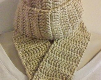 Crocheted Scarf - Tan With Wooden Flower Buttons