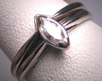 Antique Vintage Marquise Diamond Wedding Ring Set White Gold 2Pc Band
