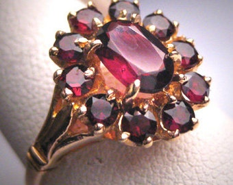 Antique Victorian Bohemian Garnet Ring Yellow Gold Vintage Wedding