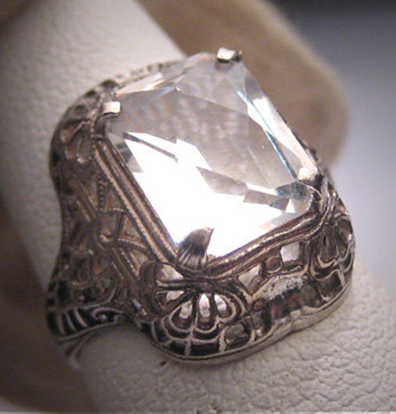 antique white sapphire wedding ring deco vintage 2ct