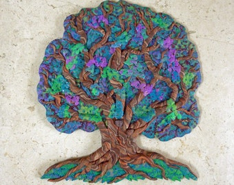 Spring Tree of Life Wall Art Sculpture or Clock in Green, Blue, Purple and Burgundy and Wood Polymer Clay