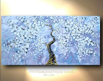 "ORIGINAL Painting - Flowering Tree Light Purples, blues, Gold abstract Textured canvas art palette floral impasto Cherry Blossom 48"" by OTO"