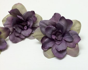 Silk Flowers - Three Delphinium Blossoms in Purple Accented With Khaki Beige - 3 Inches - Artificial Flowers