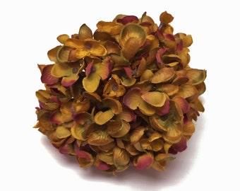 Silk Flowers - Hydrangea Head in Shades of MUSTARD Gold - Artificial Flowers, Flower Crown, Halo