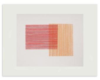 Screenprint, geometric print, red and orange abstract, original, handmade art. Mid Century modern, Emma Lawrenson