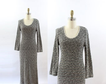 VINTAGE 1990s Knit Maxi Dress Black White Long