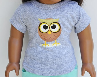 American Made Doll Clothes - Graphic Tee - Custom Tshirt with Cute Owl Image, Heat Transfer