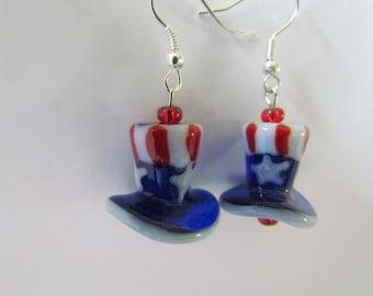Patriotic Uncle Sam hat earrings - red white blue glass bead earrings - USA holiday earrings  dangle pierced earrings - 4th of July earrings