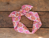pink and orange floral headscarf, bohemian style, pink orange navy cream, boho style , tie up headband, adjustable, summer, knotted headband