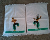 Vintage 1950s 50s atomic era pair of Gennie master and Slave Terry cloth hand towel set kitschy