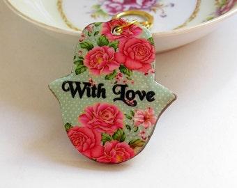 Hamsa keychain, Hand of fatima key chain, Personalized gift, handbag charms , evil eye key chain, hamsa bag charm, judaica, with love roses