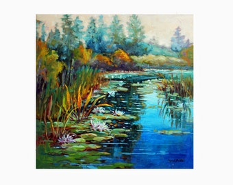 Art Print, Digital Print, Reproduction of Original Oil Painting, Lotus Flower Landscape, Southern Landscape, Georgia,Gift Item,Free Shipping