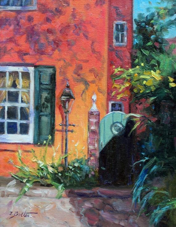 charleston south carolina home original oil painting