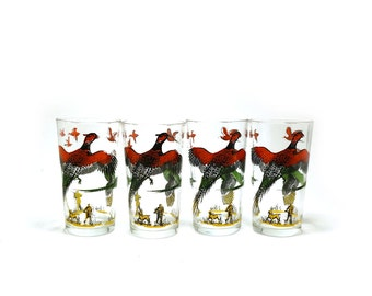 Vintage Hazel Atlas pheasant drinking glasses, set of 4