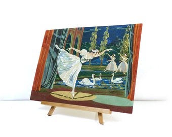 Vintage paint by number - Scenes from the Swan Lake Ballet / Ballerina on point
