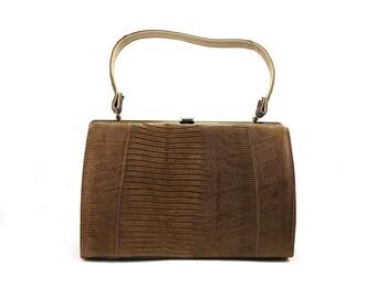 Brown faux snake skin handbag / Vintage purse / Mid-century fashion