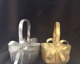 custom made wedding flower girl basket gold or silver