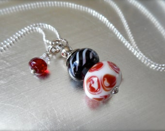 Lampwork beads necklace, Stackable bead holder, Pendant, Hand made glass beads, Interchangeable, One of a kind, Keepsake, Change a bead.