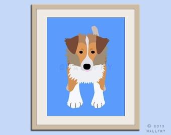 Rough Collie dog puppy dog nursery decor. Dog nursery print. Art for children, kids decor. Custom dog art kids. Art print by WallFry