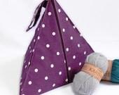 Purple spotty pyramid knitting bag. Knitting bag. Project bag. Sewing, knitting, stashing. UK SHOP
