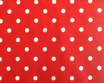 Red and White Polka Dot Cotton / Poly Fabric, One Yard (X60), more available