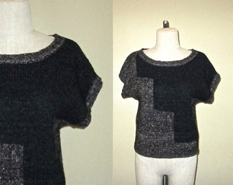 Vintage 80's / 90's color block wool HIPSTER SWEATER short sleeved slouch - S/M