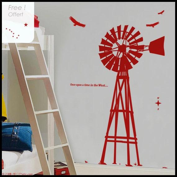 USA Wind mill : WALL DECAL - Far West - Old Windmill in Wood as in Western Movies. John Wayne style. Nursery, kid.