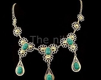 Wonderful Egyptian  Teardrop Scarab Necklace