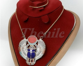 Pretty Large Egyptian Winged Scarab Necklace halloween