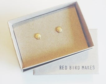 Minimalist Brass Shell Stud Earrings
