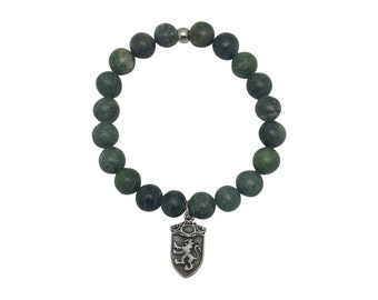 Men's Green Moss Agate Bracelet - Warrior Jewelry - Men's Jewelry - Father's Day - Men's Cool Accessories - Arm Party