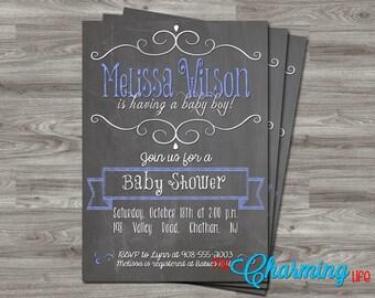Baby Shower Sprinkle Invitation Printable- Chalkboard - Boy - Digital Download - JPEG