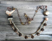 SALE Mixed Media Necklace Neutral Rustic Vintage Style Rustic Bird Bead Antler Bead Pottery