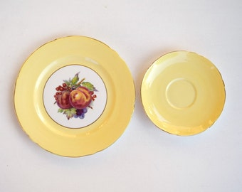 Shelley saucer and desert plate set of 2 pale yellow fruits pattern bone china replacement