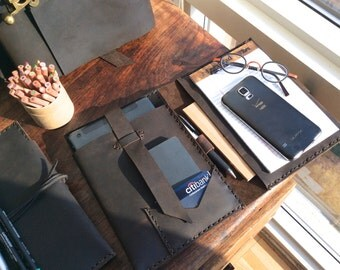 Mangin mini folio, handmade leather bag,  iPad mini folio with notepad, portfolio notepad holder, handmade leather iPad mini cases by Aixa