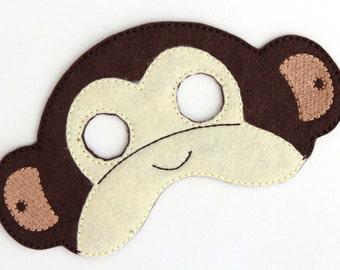 Kids Monkey Mask, Monkey Costume, Felt Mask, Kids Face Mask, Animal Mask, Halloween Costume, Pretend Play, Dress Up, Party Favors, Costume