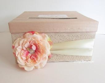 Wedding Card Box Custom Envelope Card Holder Lace Blush Bridal Shower Card Box