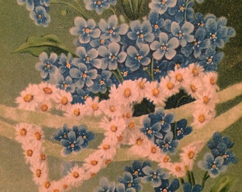 Blue  Forget Me Not Flowers - Valentine Postcard -  White Daisy Hearts - Vintage Postcard