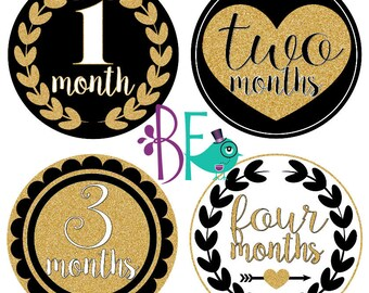 Black and Gold Glitter Monthly Baby Stickers, Baby - Baby Girl - Month Stickers. Baby Girl Photo Stickers. Monthly Milestone Stickers