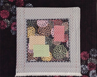 Abstract Mixed Media Fiber Art with Paint & Beads Brown Grey Pink