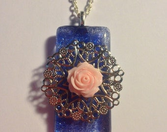 Hand Painted Glass Pendant  -- Filgree necklace  --  Blue Glitter Necklace  --  OOAK  --  Rose Necklace  --  (#1316)