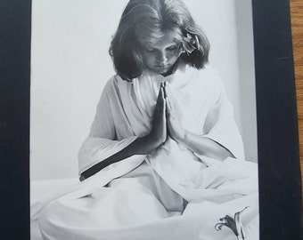 Vintage Mary Ann Wells Photograph-Young Girl in Prayer-White Robe-1974-Signed by Photographer