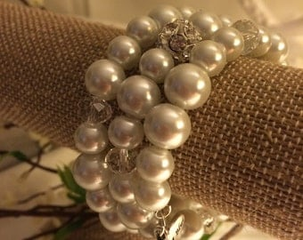 "White Pearl Wrap Bracelet with a ""Something Blue"" Charm"