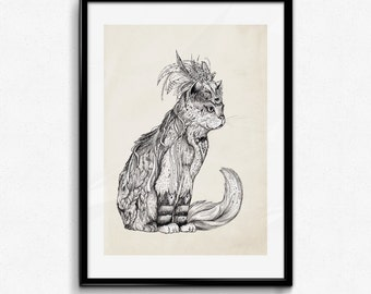 Marvel Witch Cat - Graphite | Signed A3 print