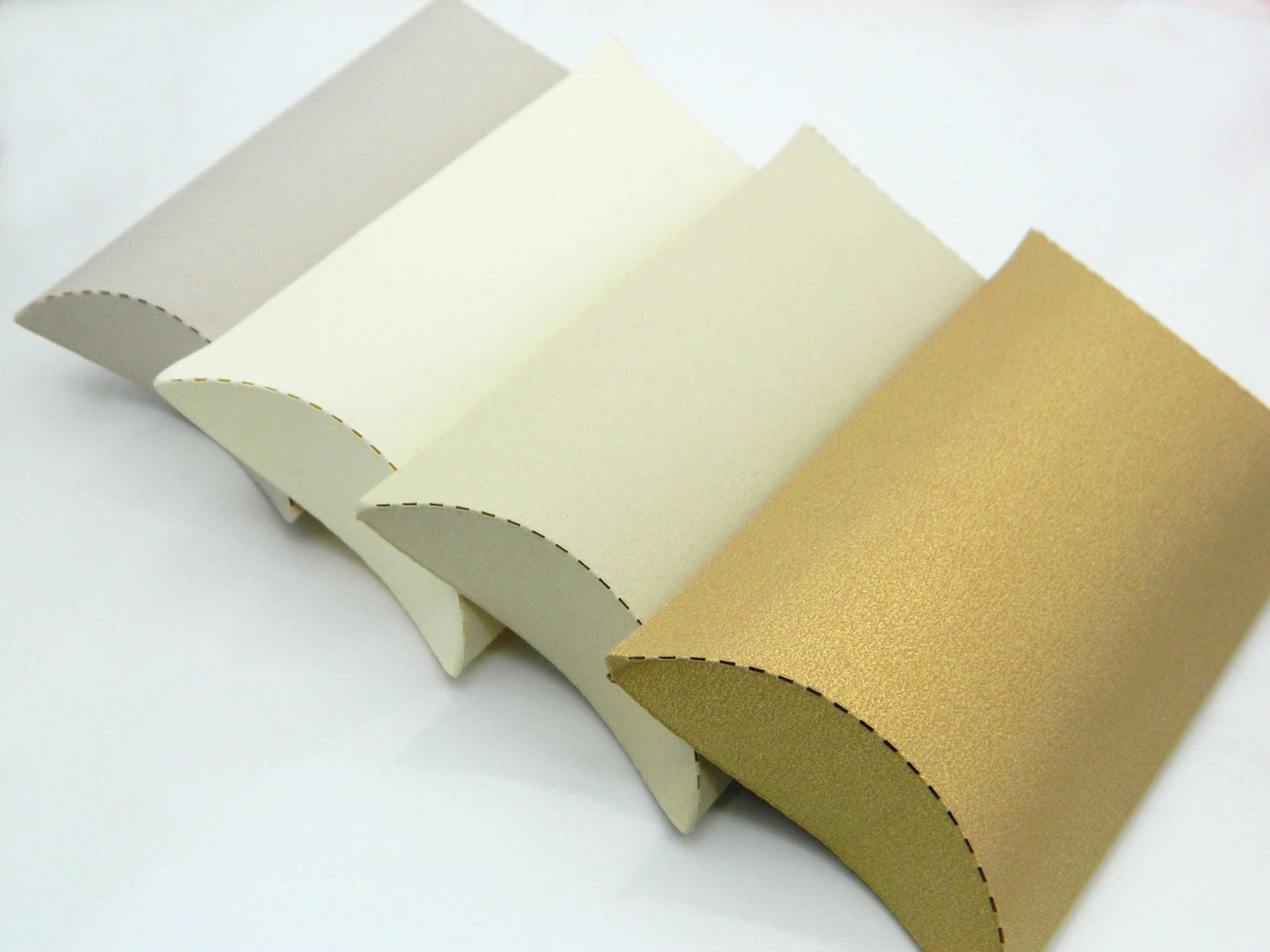 Gold Pillow Favor Boxes : Gift pillow boxes package of shades beige gold